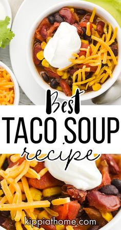 This easy Taco Soup recipe only takes minutes to make and all the ingredients are in your pantry. Fun Easy Recipes, Healthy Soup Recipes, Quick Easy Meals, Meat Recipes, Mexican Food Recipes, Dinner Recipes, Chicken Recipes, Carrot Recipes, Cauliflower Recipes