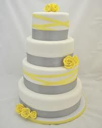 Gray and yellow wedding cake- with Royal Blue instead of Gray..