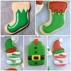Decorated Elf Cookies with Artfully Delicious {Guest Post}-Using a stocking for the elf foot. Christmas Stocking Cookies, Christmas Sugar Cookies, Christmas Sweets, Noel Christmas, Holiday Cookies, Christmas Baking, Christmas Cookie Cutters, Christmas Cupcakes, Galletas Cookies