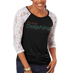 Miami Dolphins Women's Pride Playing IV V-Neck Slim Fit Burnout T-Shirt - Navy Blue