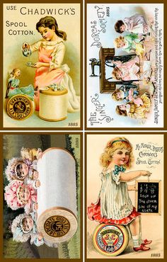 Sewing and Quilting Set 9 - Sewing Trade Cards 1885-1895. Quilt Blocks printed on cotton. Ready to sew.  Single 4x6 block $4.95. Set of 4 - 4x6 quilt blocks with wall hanging pattern $17.95.