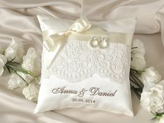 Lace Wedding Pillow Ring Bearer Pillow by DecorisWedding on Etsy