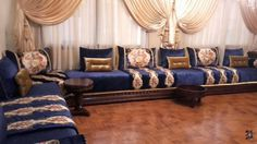 Salon marocain bleu nuit beige - Amenda decor