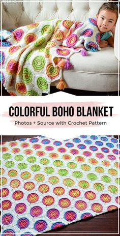 crochet pattern colorful boho throw blanket - easy crochet blanket pattern for beginners Boho Throw Blanket, Easy Crochet Blanket, Crochet For Beginners Blanket, Knitted Blankets, Crochet Afghans, Baby Blankets, Boho Crochet Patterns, Weighted Blanket, Cotton Crochet