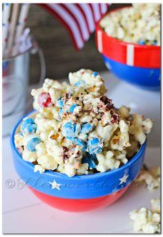White Chocolate M&M Popcorn recipe from @firefam5