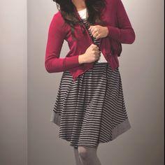 Layer'd Stripe Tank Dress  Layer'd Ruffle Detail Cardi Layer'd Classic F/less Tight www.keona.com.au