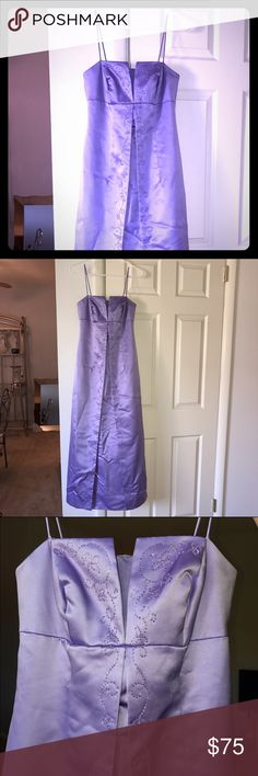 Beautiful lavender purple dress This dress is almost guaranteed to be the only one at the event as it was purchased years ago at Davids Bridal. This dress was worn once, professionally dry cleaned, and then placed in a protective bag in a closet. Excellent condition Michaelangelo Dresses Prom