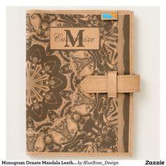 Shop Monogram Ornate Mandala Leather Journal created by BlueRose_Design. Notebooks, Journals, Leather Travel Journal, Moleskine Notebook, Leather Accessories, Worlds Of Fun, Apple Ipad, Cow Leather, Ipad Mini