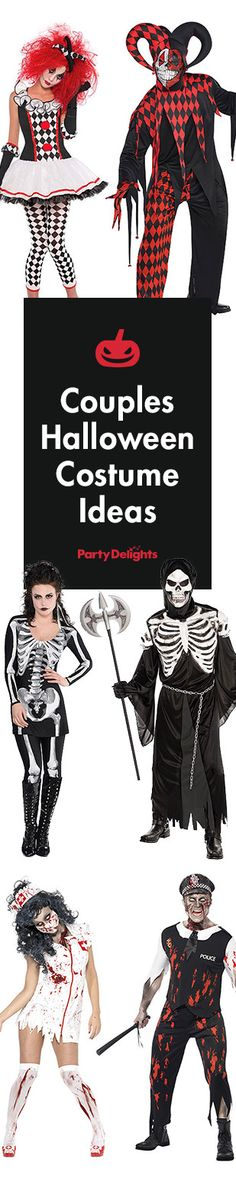 Check out our spooky selection of Halloween costumes for couples. From vampires to scary clowns and Day of the Dead, be the scariest couple at the party with an awesome couples costume.