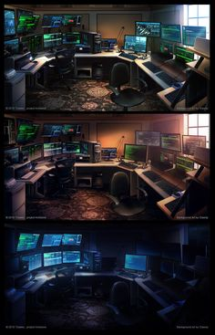 gaming setup Hacker room by giaonp - - Computer Gaming Room, Computer Desk Setup, Gaming Room Setup, Gaming Rooms, Home Office Setup, Home Office Design, Tech Room, Video Game Rooms, Game Room Design