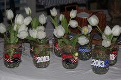simple table top graduation party decoration idea - decorated mason jar
