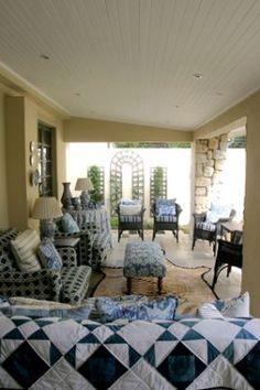 Susan Hughes Porch Veranda, Country Homes, Porches, Valance Curtains, Interiors, Rugs, Blue, Home Decor, Country Cottages