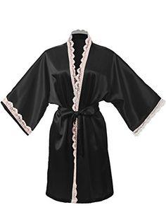 Dresstells Damen Kimono Morgenmantel Satin-look Negligee Hausmantel Nachtwäsche Seidenrobe kurz in S-XXL Black M