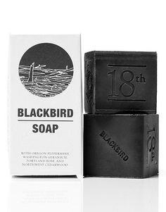 Blackbird May 18th Black Soap contains activated charcoal and a mix of peppermint, Washington geranium, Portland rose, and Pacific cedar wood. From Remodelista.