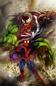 Venom,Spider-Man and The Hulk. Hulk Marvel, Marvel Actors, Marvel Dc Comics, Marvel Heroes, Venom Spiderman, Marvel Venom, Incredible Hulk, Amazing Spider, Amazing Art
