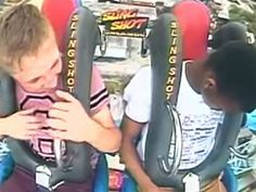 Watch this guy faint 3 times while on an slingshot ride