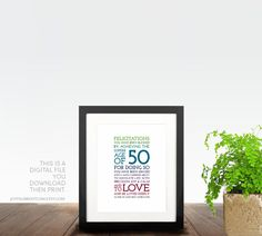 50th Birthday Gift For Women Her Men Husband Father PRINTABLE