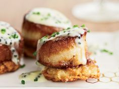 Scallops with Potato Pancakes and Caviar Sauce Recipe | Kitchen Daily
