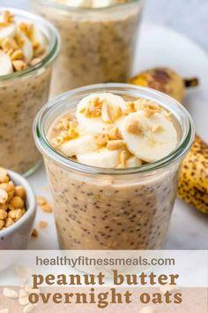Peanut Butter Recipes, Peanut Butter Banana, Oatmeal Recipes, Overnight Oats In A Jar, Peanut Butter Overnight Oats, Healthy Breakfast Recipes, Healthy Recipes, Healthy Dishes, Healthy Desserts