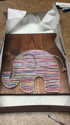 DIY nursery elephant string art by me November 2016.