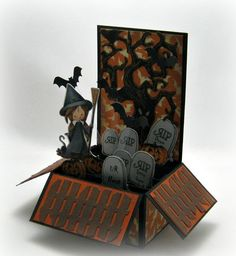 Halloween 3D Folding Box Card Witch in a by StampingCowgirl, $8.00
