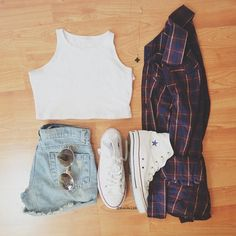 sleeveless high necked crop top, high waisted shorts, flannel, white high top converse, and sunglasses // hipstah
