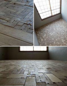 Reclaimed Patchwork Wood Block Floor Has Character | Designs & Ideas on Dornob