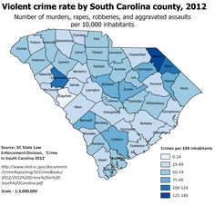 Violent crime rate in South Carolina by county, 2012