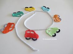 Crochet Little Cars in a Row ~ free pattern