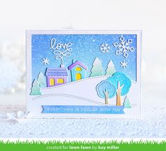 A Gorgeous Winter Scene by Kay! – Lawn Fawn – Winter And New Year Xmas Cards, Holiday Cards, Scrapbook Cards, Scrapbooking, Lawn Fawn Blog, Lawn Fawn Stamps, Winter Cards, Christmas Tag, Winter Scenes