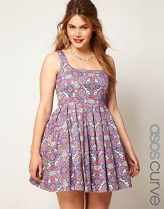 Enlarge ASOS CURVE Dolly Skater In Paisley
