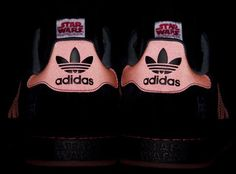"""Star Wars """"Darksidestars"""" Superstar Preview: CLOT and Edison Chen preview the adidas Star Wars. Inspired by Darth Vader, the """"Darksidestars"""" are featured in black and red with 3M reflecties"""