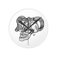 Skull Devil head Black and white - Design Wallclocks - NEW by Krisi ArtKSZP on Zazzle
