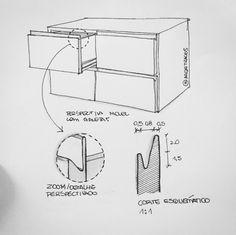 Puxador tipo cava. Tipo de puxador clean, que deixa os móveis mais discretos. Moderno e estiloso.