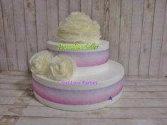 Cabbage Roses & Organza Ribbon Rustic Wedding Party Cake Topper Set - Cream