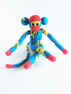 Sock Monkey-Pokemon-Pikachu-Themed-Handmade-Monkey-Red, Yellow, Black,…