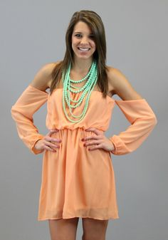 Off The Shoulder Dress in Tangerine
