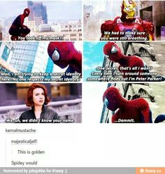 This exchange actually occurs in the Ultimate Spider-Man comics, but it's the X-Men, not the Avengers.