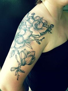 magnolia flower half sleeve tattoo - 50  Magnolia Flower Tattoos  <3 <3