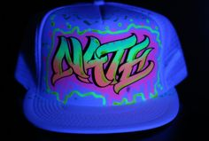 f37da43bb30 Glow In The Dark (Black Light) Neon Personalized Trucker Hat