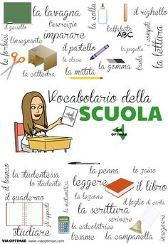 Vocabolario della scuola, School vocabulary with illustrations on Via Optimae, Click for more, plus useful expressions! http://www.viaoptimae.com/2014/11/a-scuola-at-school-01.html