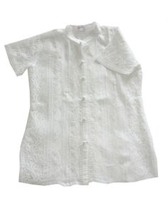 White color shirt in soft voile is beautifully hand embroidered in jali and shadow work technique. Front has paisley and floral embrodery with pintuck details and crochet buttons. Back has all over buti embroidery. Crochet Buttons, Pin Tucks, Paisley, Tunic Tops, Embroidery, Silk, Floral, Cotton, Shirts