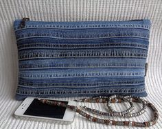 Denim clutch make up cosmetic zipper bag pouch case recycled