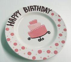 Hand Painted Ceramic Happy Birthday Plate  10 by BrushfireStudio, $20.00