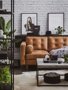 Your Guide to the Most Popular Interior Design Styles modern industrial living room with tan leather sofa and concrete coffee table Modern Interior Design, Home Design, Design Ideas, Wall Design, Modern Decor, Modern Lamps, Modern Interiors, Design Styles, Design Trends