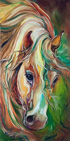 WILD STORM HORSE ABSTRACT by M BALDWIN Oil ~ 24 x 12
