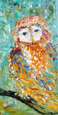 Original oil OWL PALETTE KNiFE painting by Karensfineart