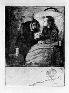 """The Sick Child, 1895. Drypoint. The only work in the series to include a scene other than that of the room. According to the British Museum, """"It may be that he intended to contrast the blooming life of nature with the dying of humanity.""""[7]"""