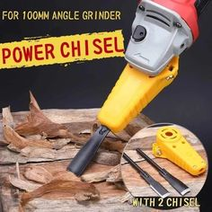 Just own a chisel set, you can make your angle grinder into a power chisel. Fit for 100 Angle Grinder. -Power depends on your angle grinder. (This product does not include Angle Grinder. Woodworking Videos, Woodworking Shop, Woodworking Plans, Woodworking Projects, Woodworking Vacuum, Japanese Woodworking, Woodworking Basics, Workbench Plans, Tool Storage