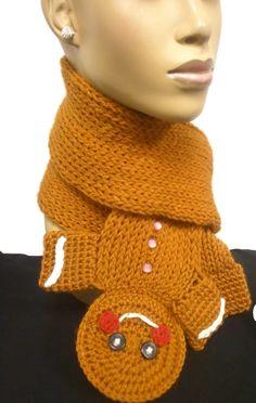 Gingerbread Man Scarf/Long Scarf/Rust Color Gumdrop by ScarFanatic, $55.00